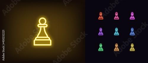 Fényképezés Neon chessmen pawn icon