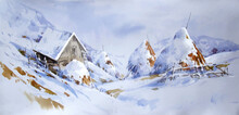 Watercolor Landscape Illustration Snow Covered Mountains Painting