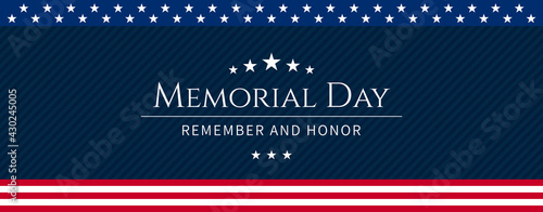 Fotografia Vector of US Memorial Day celebration background banner or greeting card, with text and USA flag elements
