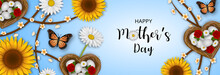 Happy Mother's Day Banner With Flowers, Butterflies And Heart Shaped Nests