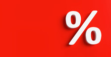 Percent Discount White 3D Rendering Symbol Red Wall