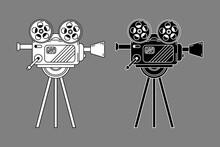 Film Camera Old-fashioned Retro Vintage Icon Logo Black White Outline