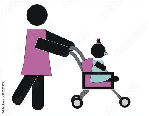 Slika na platnu Madre paseando a su hija pequeña en una sillita