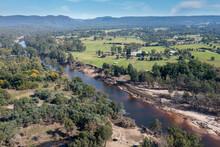 Drone Aerial Photograph Of The Grose River In Yarramundi Reserve In Regional Australia