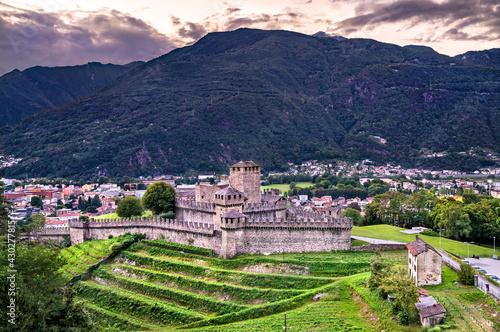 Castelgrande castle in Bellinzona, Switzerland - fototapety na wymiar