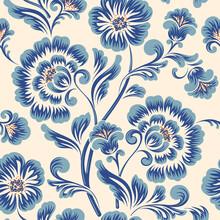 Blue Vintage Flower Set Hand Drawn Art Background Template Vector.