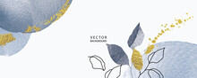 Minimal Background In Blue Water Color Texture With Golden Metallic Flowers And Tropical Summer Leaf