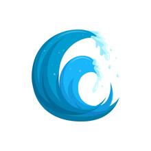 Flood Waves Logo. Tsinami Storm Wave Isolated In White Background. Cartoon Vector Illustration