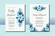 Wedding invitation frame set, floral watercolor hand drawn Lily with Rose Flower design Invitation Card Template