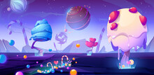 Candy Planet Cartoon Poster With Fantasy Alien Trees And Sweets. Magic Unusual Nature Landscape For Computer Game, Fairy Tale Cosmic Background With Beautiful Strange Plants, Vector Web Banner