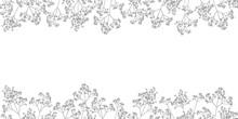かすみ草のフレーム_線画_上下