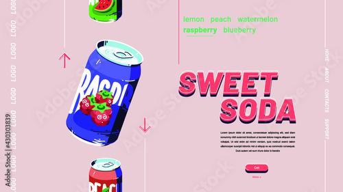 Fototapeta Sweet Soda Banner obraz na płótnie