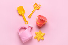 Set Of Beach Toys For Children On Color Background
