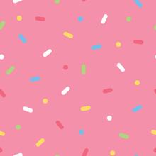 Ice Cream Sprinkles Seamless Pattern On Pink Background. Flat Vector Illustration.