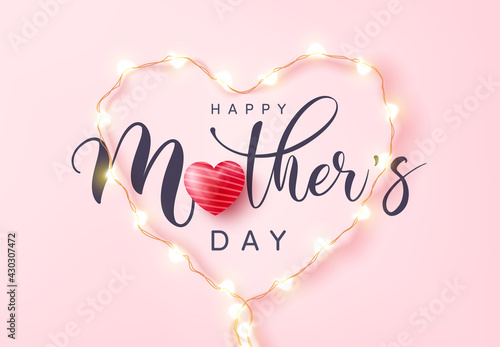 Fototapeta Mother's Day Poster or banner with love heart and symbol of heart from LED lights on pink background.Promotion and shopping template or background for Love and Mother's day concept. obraz