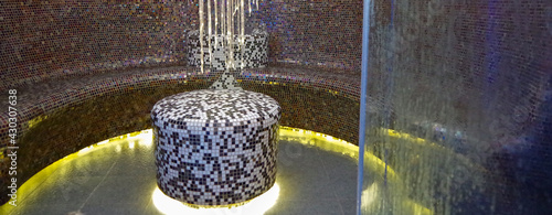 Fotografie, Obraz Turkish bath or steam sauna with mosaic tiles inside male locker room of spa or
