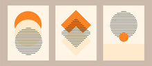 Vector Set. Contemporary  Compositions With Geometric Figures. Abstract Poster.  Boho Wall Decor. Mid Century Art Print.