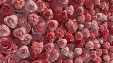 Vibrant, Colorful Flower Blooms Arranged In The Shape Of A Wall. Red, Beautiful, Roses Composed To Create A Elegant Floral Background. 3D Render