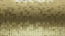 3D Tiles Arranged To Create A Luxurious Wall. Glossy, Square Background Formed From Gold Blocks. 3D Render
