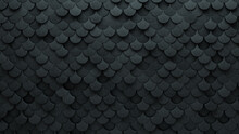 3D Tiles Arranged To Create A Fish Scale Wall. Futuristic, Concrete Background Formed From Semigloss Blocks. 3D Render