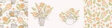 Set Of Vector Posters With A Cup Of Tea, A Teapot On A Background Of Flowers, Seamless Pattern. Suitable For Postcards, Posters, Social Media Posts, Greeting Cards, Invitations