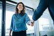 Leinwandbild Motiv Recruitment manager shaking hand with male candidate