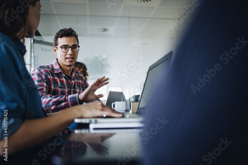 Businessman discussing new strategies in meeting