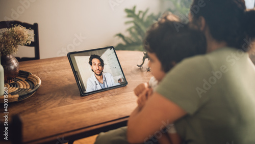 Fotografija Online consultation with doctor via video call
