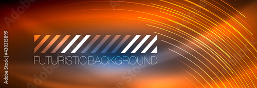 Foto Neon glowing lines, magic energy and light motion background
