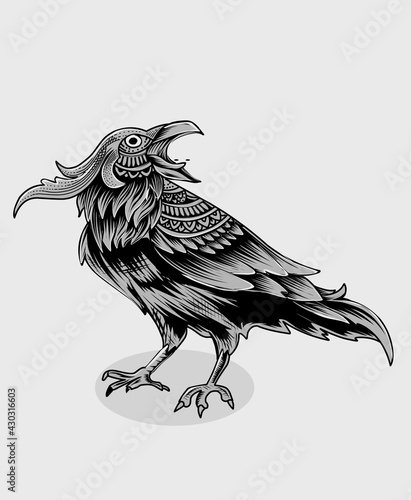 Fototapeta premium illustration vector vintage crow bird