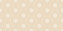 Trendy Background Pattern With Geometric Elements On Beige Backdrop. Vintage, Wallpaper. Seamless Pattern, Texture. Vector Image