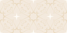 Decorative Background Pattern With Floral Ornaments On A Beige Background, Wallpaper, Vintage.