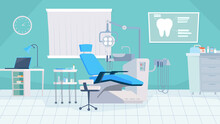 Dentist Office Interior, Banner In Flat Cartoon Design. Dental Chair, Medical Equipment For Stomatology Treatment, Workstation With Computer, Orthodontic Tools. Vector Illustration Of Web Background