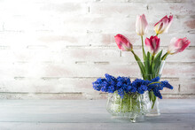 Flowers Of Tulips And Grape Hyacinths In A Jar And Crystal Glass On A Rustical Brick Wall With Copy Space