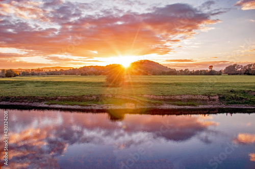 River Wye and the Wye valley at sunset. #430324208