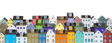 Row Of Wooden Miniature Colorful Houses On White Background