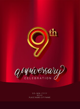 9th Anniversary Invitation And Greeting Card Design, Golden And Silver Colored, Elegant Design, Isolated On Red Background. Vector Illustration.