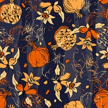 Seamless Pattern With Pomegranate Flowers And Fruits. Colorful Vector Illustration.