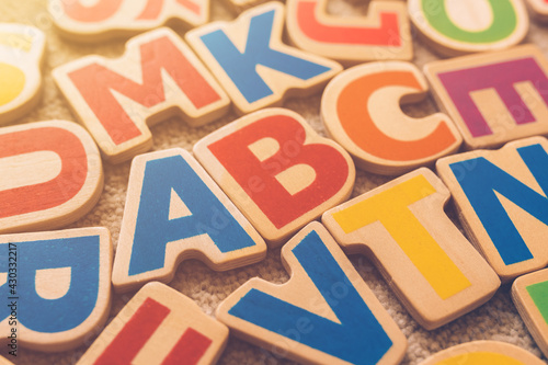 Fotografie, Obraz ABC, learning letters of the alphabet concept