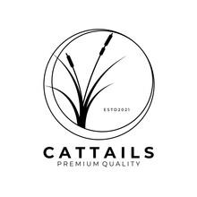 Cattail Logo Vector Vintage Illustration Design