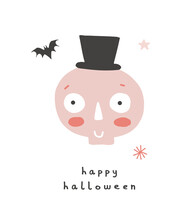 Funny Hand Drawn Halloween Print. Cute Halloween Cartoon. Infantile Style. Happy Pink Skull And Little Bat On A White Background. Hand Written Happy Halloween.