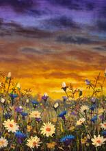 White Daisies Flowers Blue Cornflowers Paintings Monet Painting Claude Impressionism Paint Landscape Flower Meadow Oil