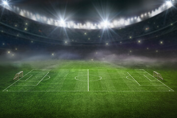 textured soccer game field with neon fog - center, midfield. 3D-Illustration