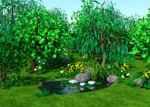 3D Rendering Cartoon Pond