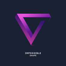 Impossible Geometric Shape. The Penrose Triangle. Isolated 3d Shape. A Graphic Element For Your Design.