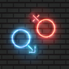 Male And Female Symbols, Neon Design On A Brick Wall, Vector Illustration