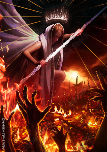 Fototapeta A beautiful angel girl in white clothes with a hood seals the gates to hell, vile hands of demons climb out of the bars trying to grab something suffering in the agony of eternal flame