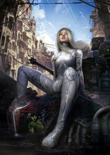 Beautiful Saifai Girl Happily Looks Into The Distance At The Blue Sky Riding On A Battle Robot In The Middle Of The Ruins Of A Large City, She Has White Hair And A Smile On Her Face. 3d Rendering