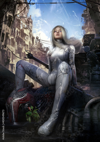 Fotografie, Obraz Beautiful saifai girl happily looks into the distance at the blue sky riding on a battle robot in the middle of the ruins of a large city, she has white hair and a smile on her face