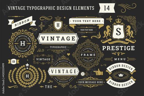 Fotografie, Obraz Vintage typographic decorative ornament design elements set vector illustration